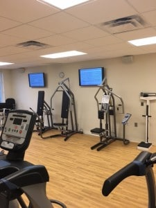 freestanding gym machines in the fitness area